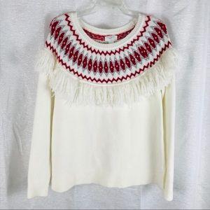 LOFT Lounge Fringe Sweater Nordic M